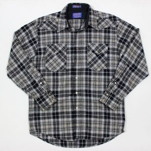 Pendleton Western Check Pearl Snap Wool LS Shirt